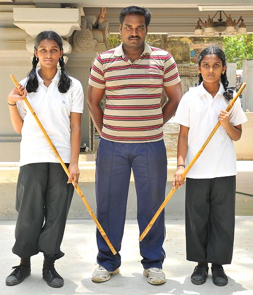 The girls with their coach Mr Ramachandran