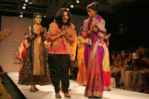 Fashion designer Deepika Govind soaking in the applause with her showstopper