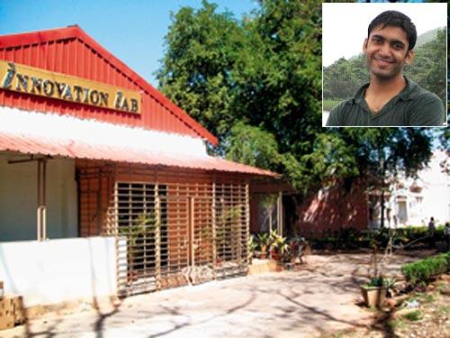 IIT-Kharagpur's innovation laboratory for student entrepreneurs and (inset) Shwetank Jain