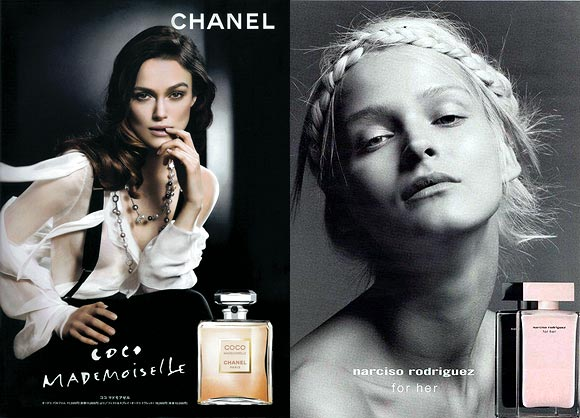 Keira Knightley for Chanel Coco Mademoiselle and (right) Carmen Kass for Narciso Rodriguez for Her