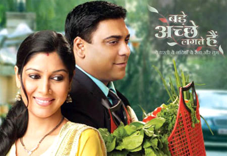 Sakshi Tanwar with co-star Ram Kapoor in a promotional still for Bade Acche Lagte Hain