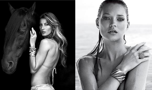 Gisele Bundchen and (right) Kate Moss