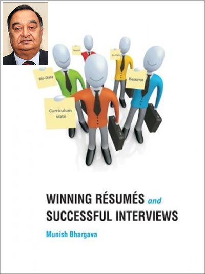 Cover of the book Winning Resumes and Successful Interviews and (inset) Munish Bhargava