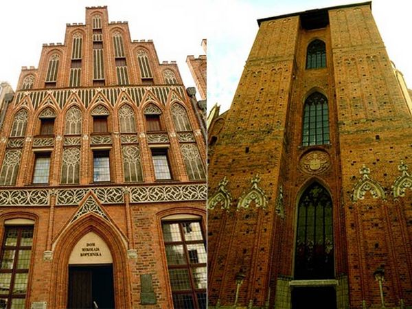 Nicolaus Copernicus' House (L) and St John's Church where Copernicus was baptised
