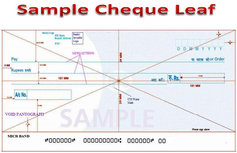 Sample layout of the cheque leaflet as mandated by the RBI
