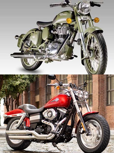 Royal Enfield (Top) and Harley Davidson may face stiff competition in the New Year