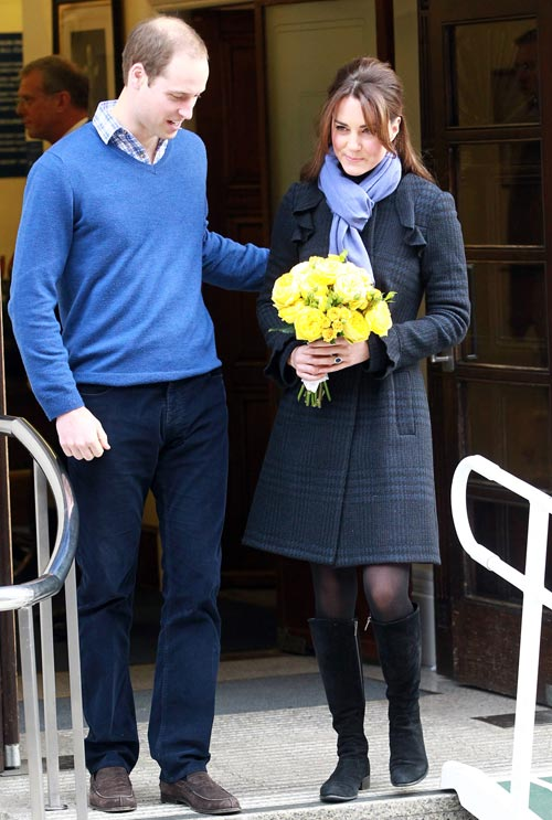 The Duchess of Cambridge, Catherine Middleton and Prince William, Duke of Cambridge leave the King Edward VII hospital where she has been treated for hyperemesis gravidarum, extreme morning sickness at King Edward VII Hospital on December 6, 2012 in London, England