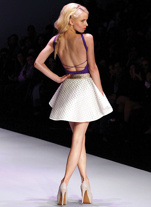 A Pink Magnolia creation, showcased at the Mercedes-Benz Fashion Week show in Mexico City November 12, 2012