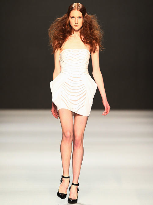 An Arzu Kaprol creation, showcased at the Mercedes-Benz Fashion Days at Schiffbau on November 10, 2012 in Zurich, Switzerland