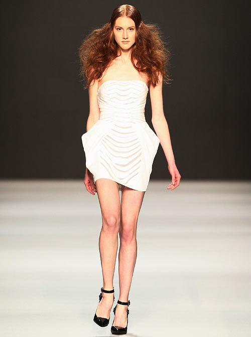 An Arzu Kaprol creation, showcased at the Mercedes-Benz Fashion Days at Schiffbau on November 10, 2012 in Zurich, Switzerland