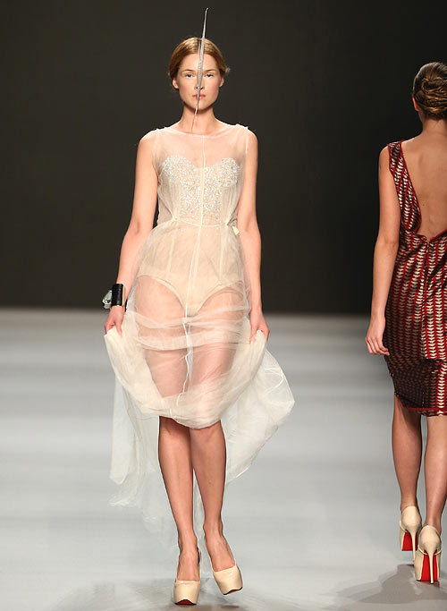 A Dawid Tomaszweski creation, showcased at the Mercedes-Benz Fashion Days on November 10, 2012 in Zurich, Switzerland