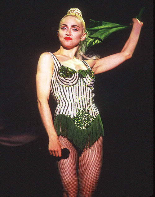 Madonnna in the conical bra designed by Jean Paul Gaultier, performing on the Blond Ambition Tour in Tokyo, Japan, April 4, 1990