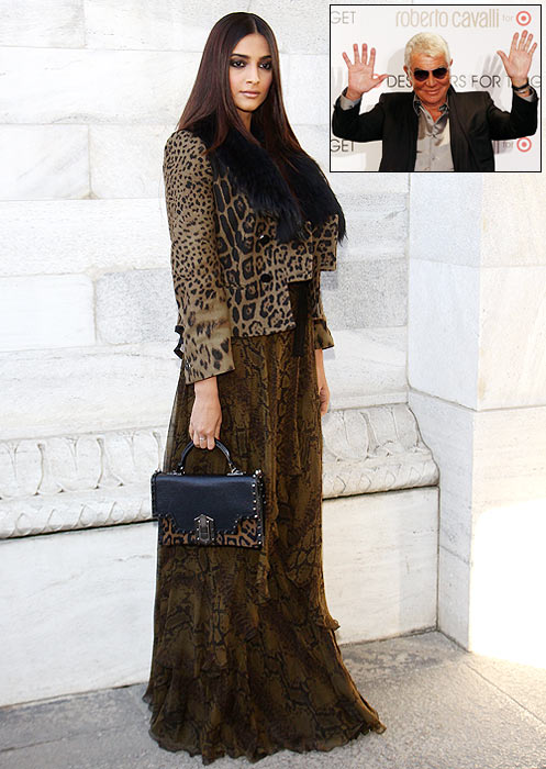 Sonam Kapoor attends the Roberto Cavalli Autumn/Winter 2012/2013 fashion show as part of Milan Womenswear Fashion Week on February 27, 2012 in Milan, Italy and (inset) Roberto Cavalli