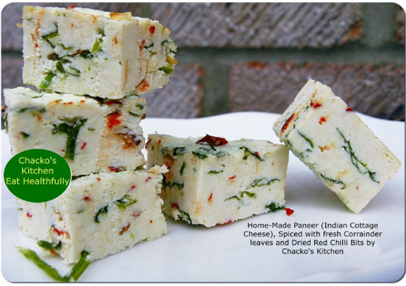 Homemade Paneer with Coriander Leaves and Dried Chilli Bits