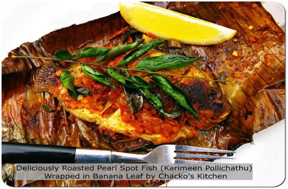 Karimeen Pollichattu (Roasted Pearl Spot Fish Wrapped in Banana Leaves)