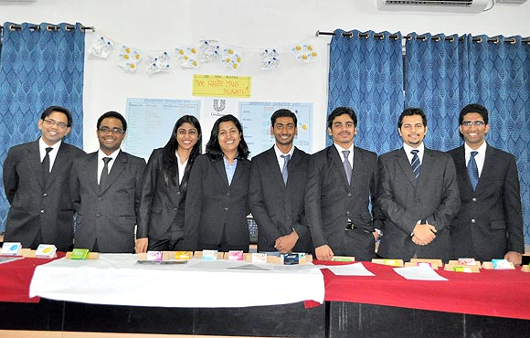 Shweta (fourth from the left) poses with her batchmates at the institute