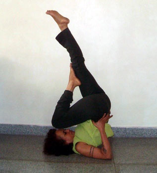 Sarvangasana (shoulderstand, simple version)