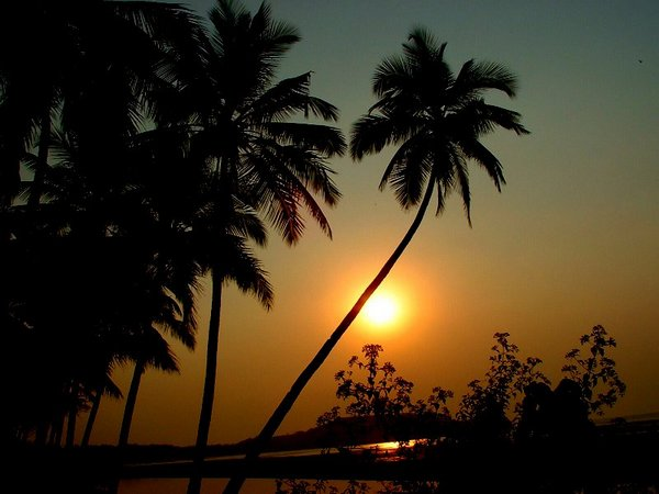 Sunset along the banks of Chapora river, Goa