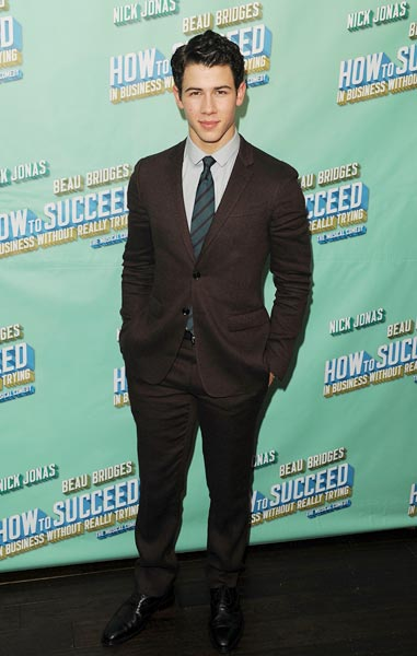 Nick Jonas at the after party for his debut in 'How To Succeed In Business Without Really Trying' in New York City
