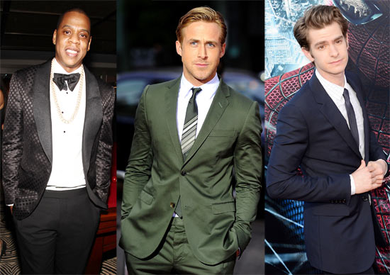(L-R) Jay-Z, Ryan Gosling and Andrew Garfield
