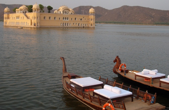 The swan boats that take you to and from Jal Mahal