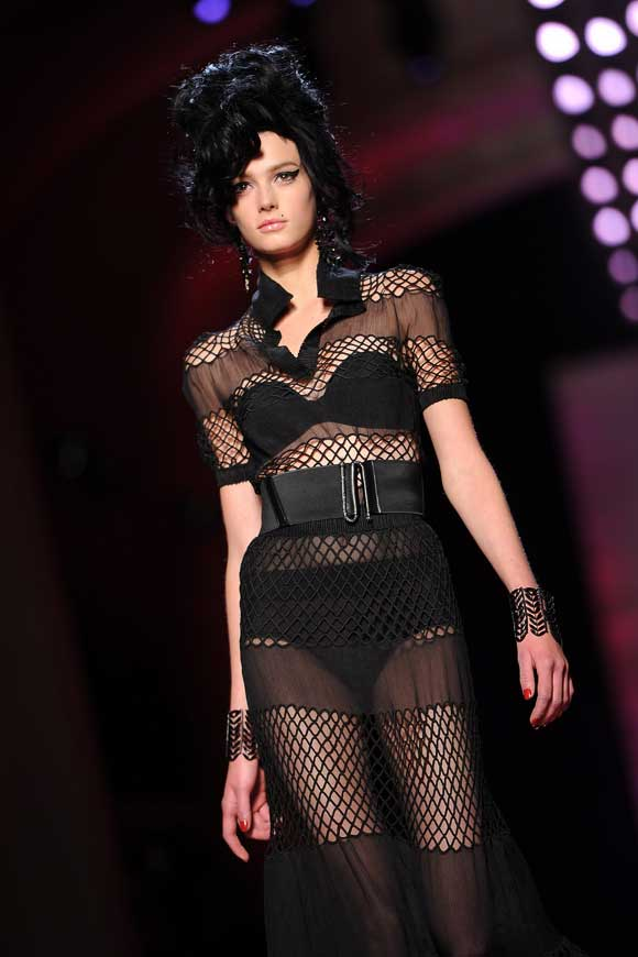 A model walks the ramp at the Jean Paul Gaultier Spring/Summer 2012 Haute-Couture Show as part of Paris Fashion Week on January 25, 2012