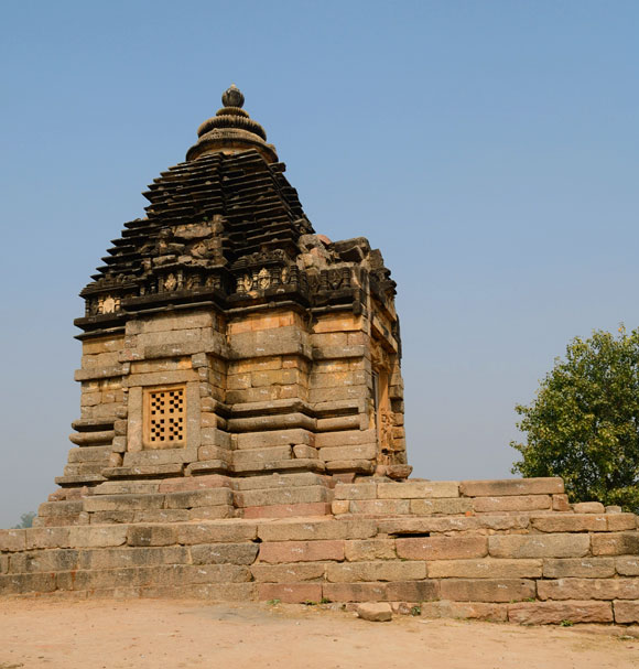 The Bramha temple is a a small shrine that overlooks a lake