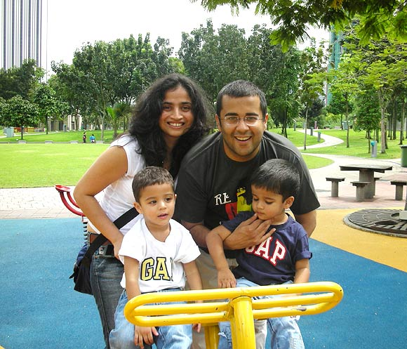 Chetan Bhagat with his wife Anusha and their twins Ishaan and Shyaam