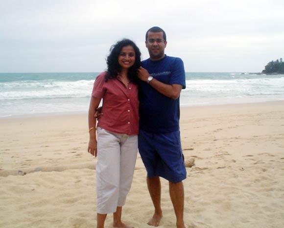 Anusha with Chetan Bhagat