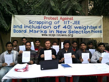 Students from Indian Institute of Technology-Delhi express their disapproval over the proposed new exam