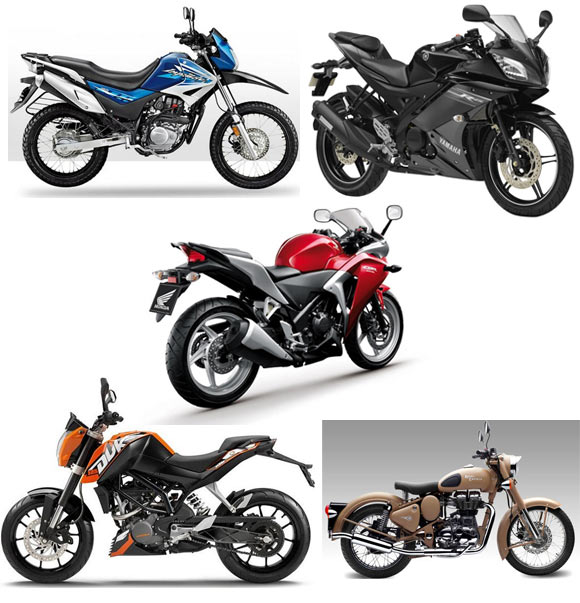 A colage of some of the bikes made in India up for voting in this poll