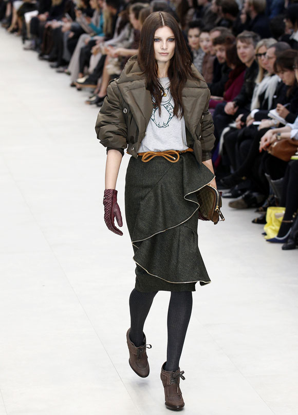 A model presents a creation at the Burberry Prorsum 2012 Autumn/Winter collection show during London Fashion Week