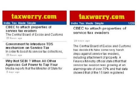 Tax News and Views Widget: Symbian