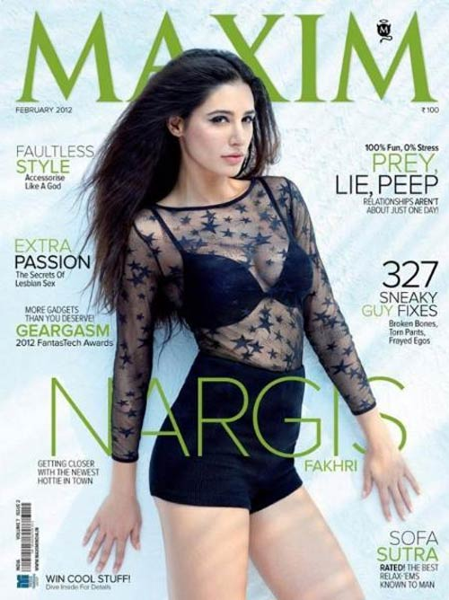 Nargis Fakhri on the cover of Maxim India