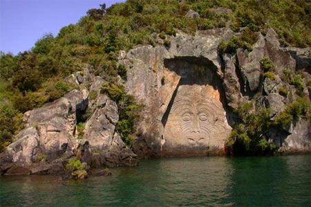 Maori rock carvings at Lake Taupo.