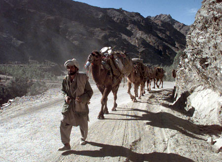 A tribesman leads a camel-caravan near the Torkham border town through the Khyber Pass in Pakistan's northwestern frontier province.