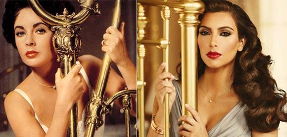 Elizabeth Taylor and (right) Kim Kardashian