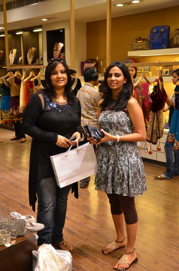 From right: Nidhi Maheshwari, marketing head, Pret Amoda at an offline event with a customer