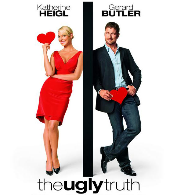 A poster of The Ugly Truth, a movie starring Katherine Heigl and Gerard Butler about what women and men look for in a relationship