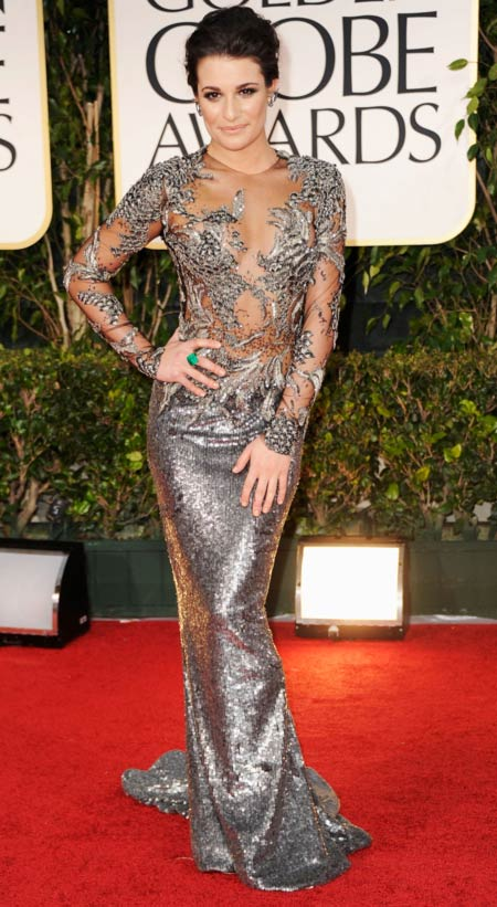 Lea Michele made waves at the Golden Globes on Sunday in her exquisitely embroidered pewter gown