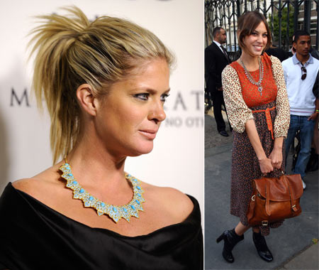 Rachel Hunter sports a beautiful necklace and (right), Alexa Chung seems delighted with her satchel