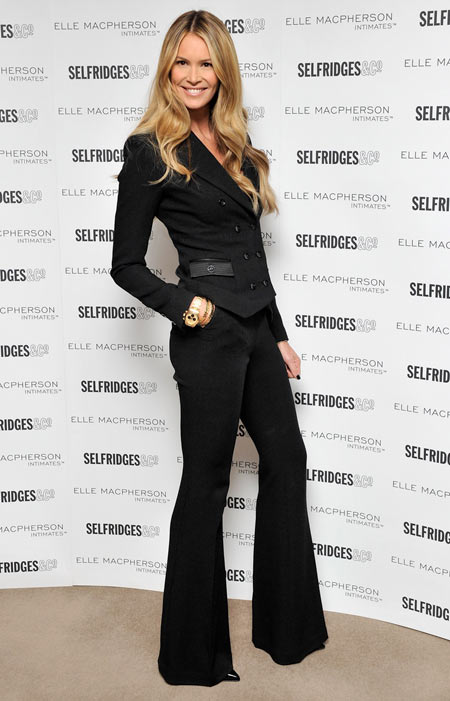 Elle Macpherson proves just how fashion-forward she is in a spiffy black jacket