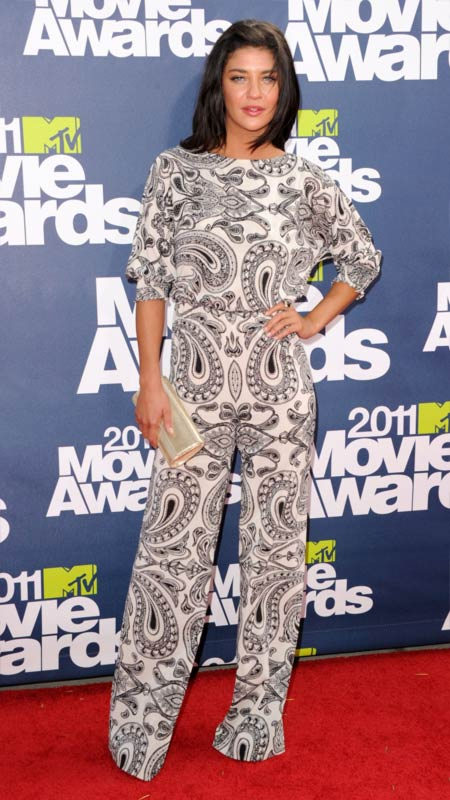Actress Jessica Szohr is a cool cat in her pyjama jumpsuit