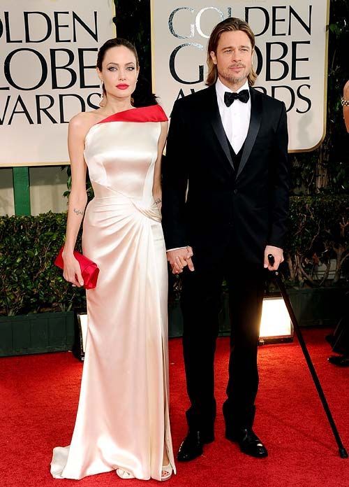 Angelina Jolie and Brad Pitt at the Golden Globe Awards 2012