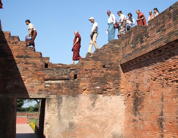 Tourists at Nalanda