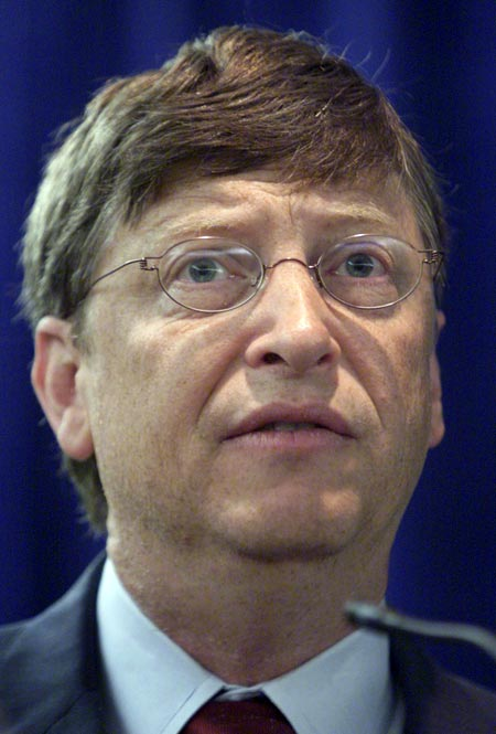 Microsoft chief software architect and co-founder Bill Gates speaks after meeting with Peruvian President Alejandro Toledo, at Microsoft corporate headquarters in Redmond, Washington, Gates and Toledo signed an agreement for an E-government collaboration, which involves Microsoft assisting the Peruvian education system with technological support.