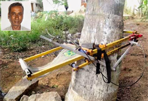 Coconut tree climber by DN Venkat (inset) is a user-friendly device that combines safety and speed. It is bound to have wide-spread use, especially in South India