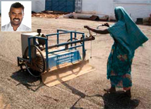 The seed spreader by Ravi (inset) spreads seeds evenly and quickly, cutting labour costs