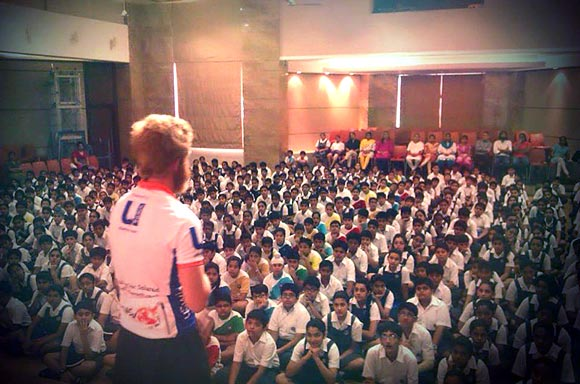 Sean Conway addresses a group of school students in Calcutta