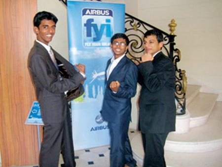 (L to R): Aravind Rajendran, Hasan Sadhir and Gowri Shankhar Suresh at the lobby of the Airbus headquarters where they presented their paper